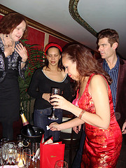 Nothing like champagne on a champagne occasion. Elizabeth gets the party started by pouring out the champers.