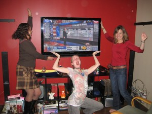 "Elizabeth Kerri Mahon, Leanna Hieber, and Hope give their various ""Price is Right"" model imitations."