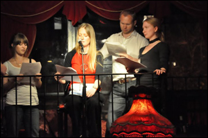 """From left to right, Ron Hogan, Maya Rodale, Joanne Rendell, Tony Haile and Leanna Renee Hieber take the stage to read a scene from Joanne's """"Crossing Washington Square."""""""