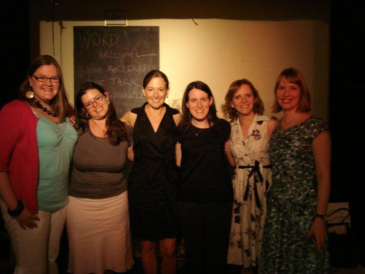 From left to right, Sarah MacLean, Sarah Wendell, Hope Tarr, Tessa Woodward, Lauren Willig & Stephanie Klose. Photo courtesy of Lauren Willig.