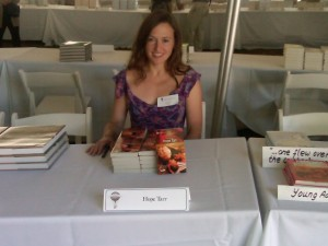 Hope signs THE TUTOR at the East Hampton Library Authors Night, August 14, 2010