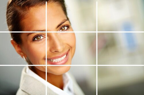 a woman face and a grid