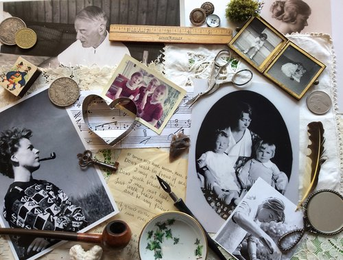 a collage of sentimental objects, photos, coins, letters