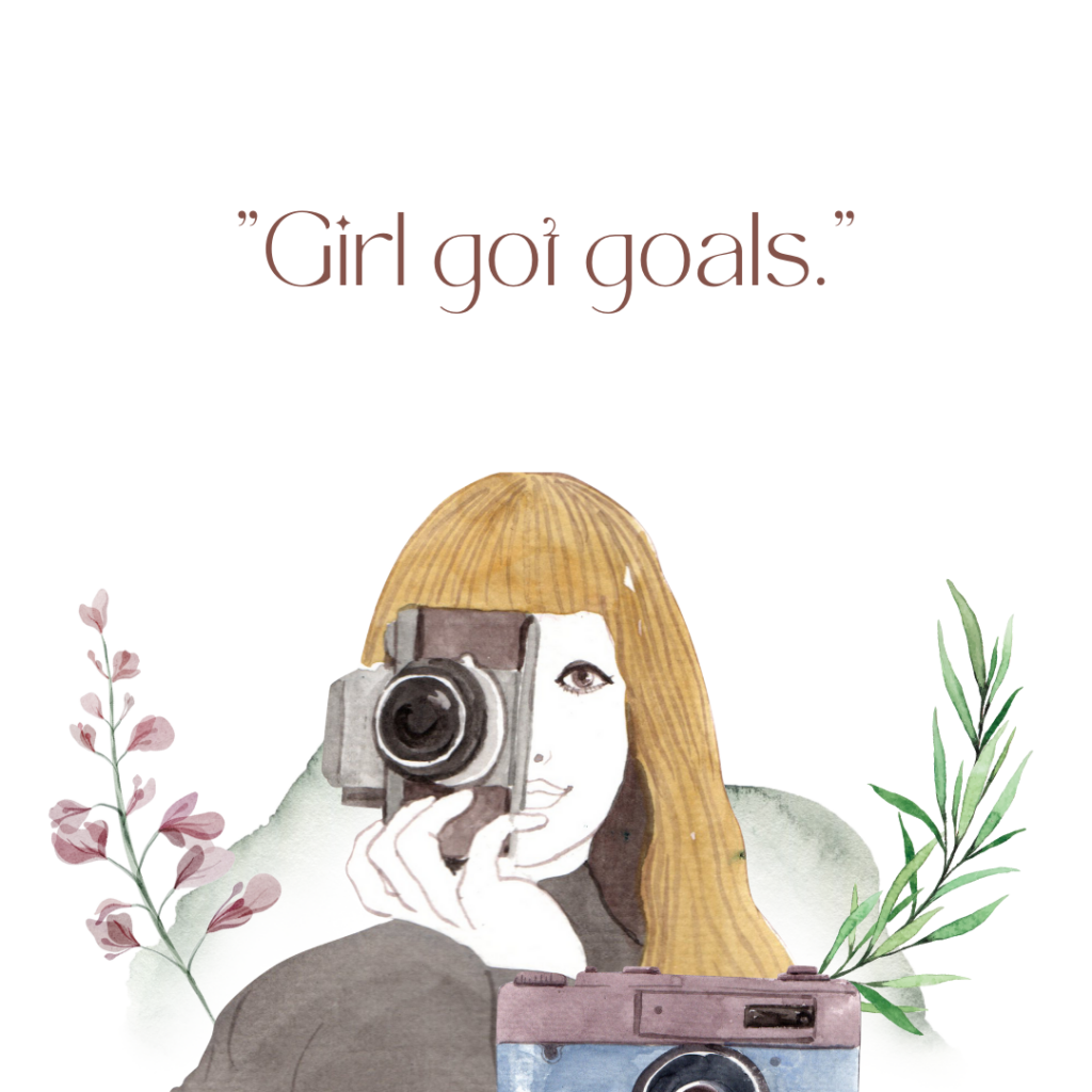 an art image of a woman taking a photo with an older camera