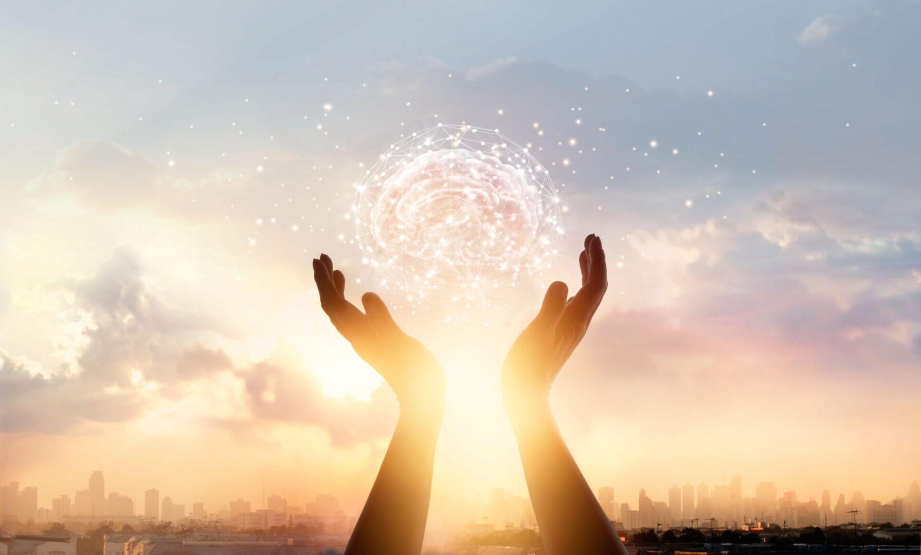 Hands light ball brain