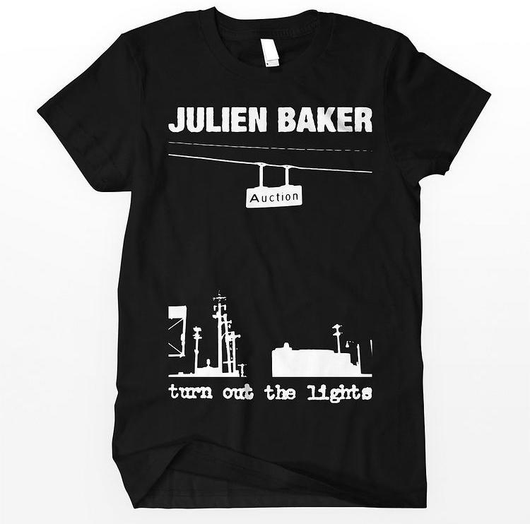 Black Julien Baker t-shirt with His Hero is Gone inspired artwork