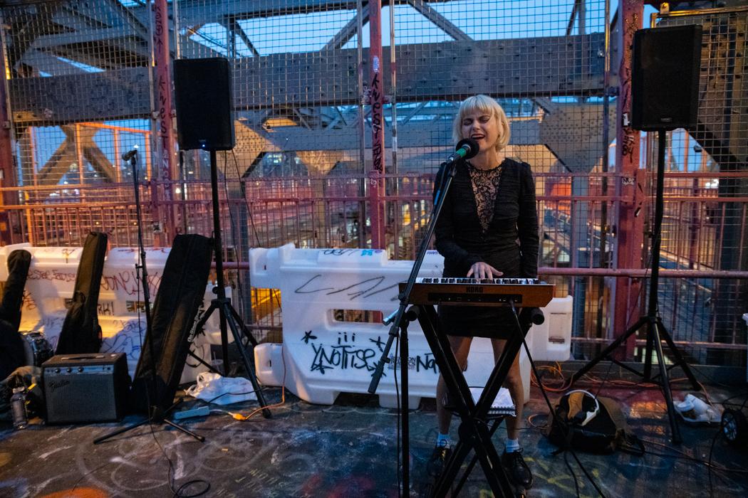 Ali of Control Top performing on the Williamsburg Bridge