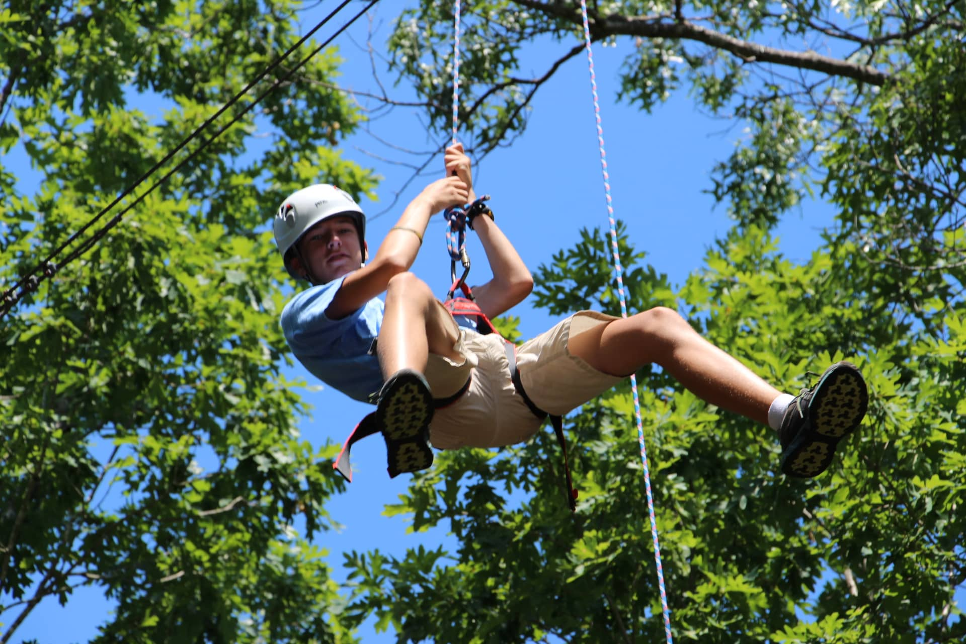 Zip line at summer camp