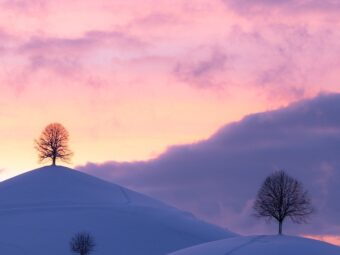 hills, winter, sunset