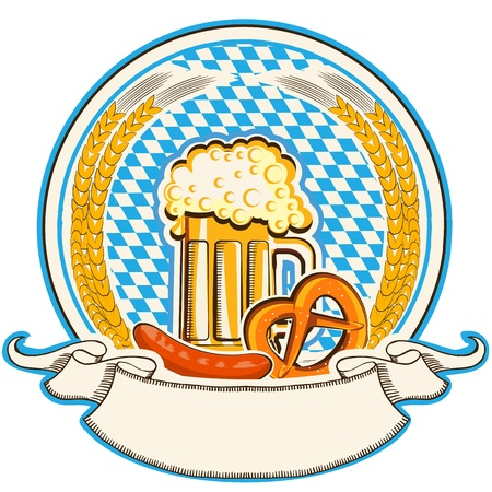20418065-oktoberfest-label-with-beer-and-food-bavaria-flag-background-with-scroll
