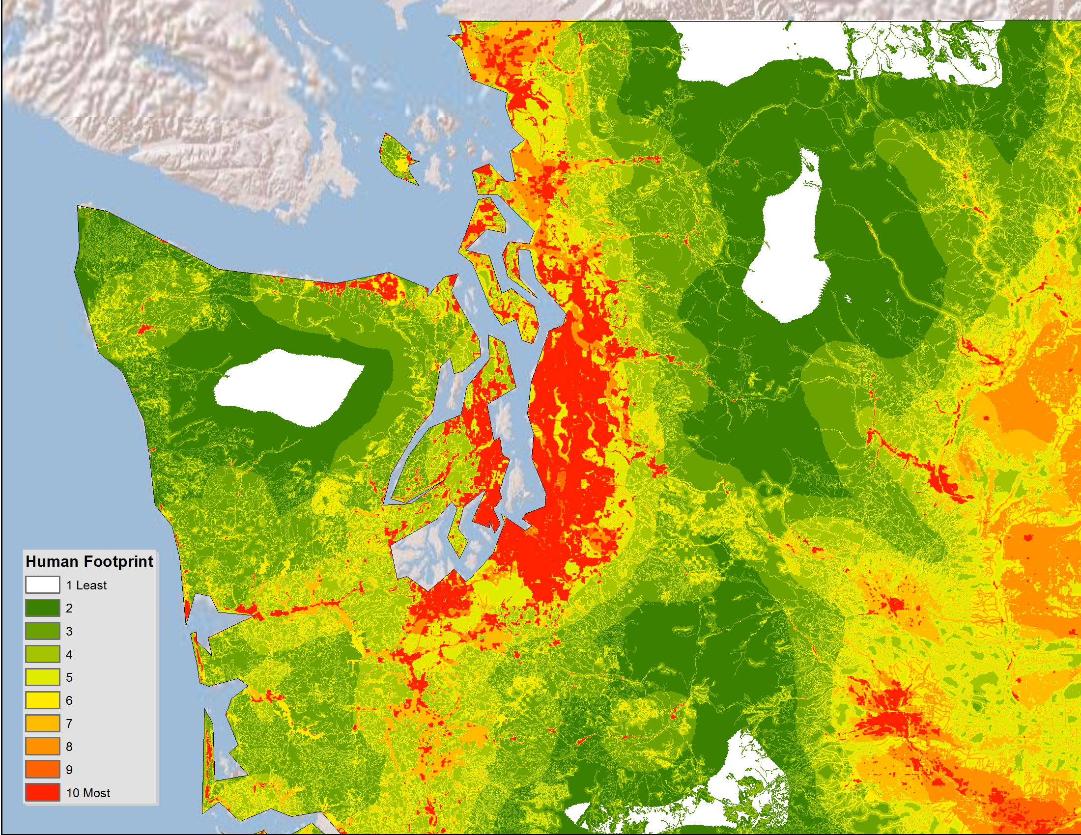 Human footprint maps of Western states and cities