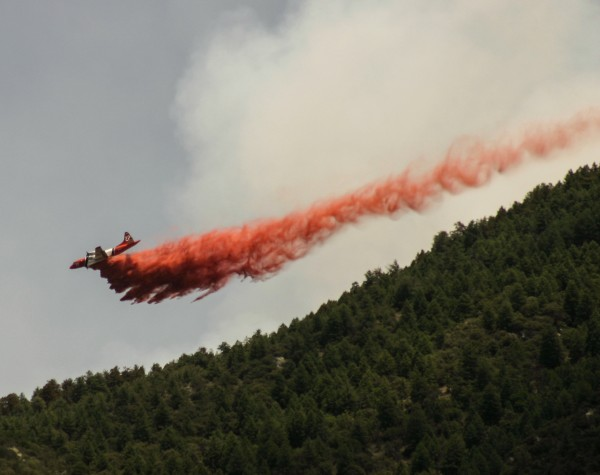 An air tanker drops retardant in Arizona's Coronado National Forest. Photo by Mitch Tobin.