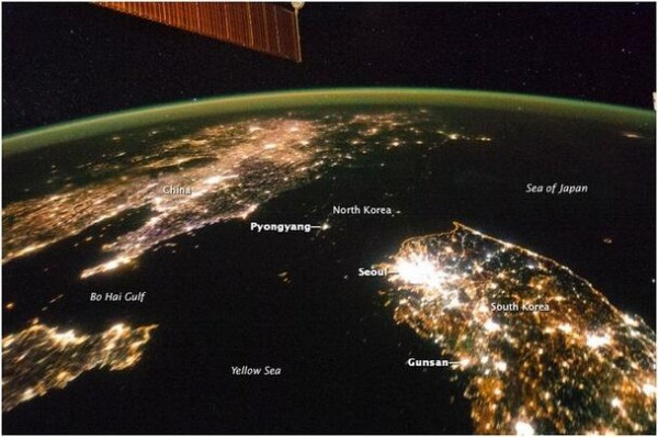 Night lights on the Korean Peninsula. Source: NASA/ISS