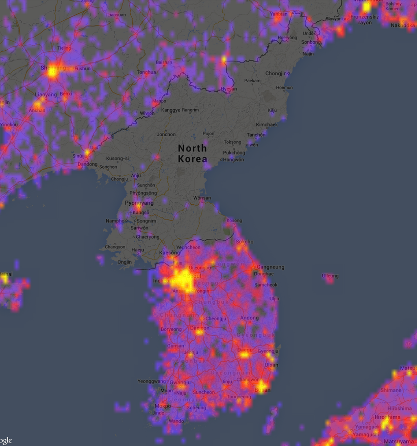 Sightsmap plots most photographed places on planet