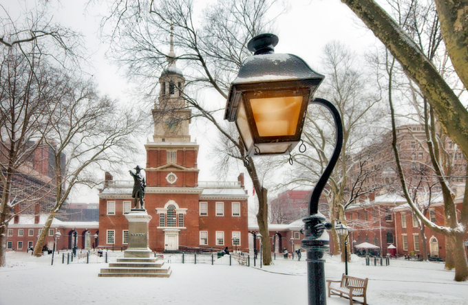Dockside Winters_Blog_Independence Hall in the snow