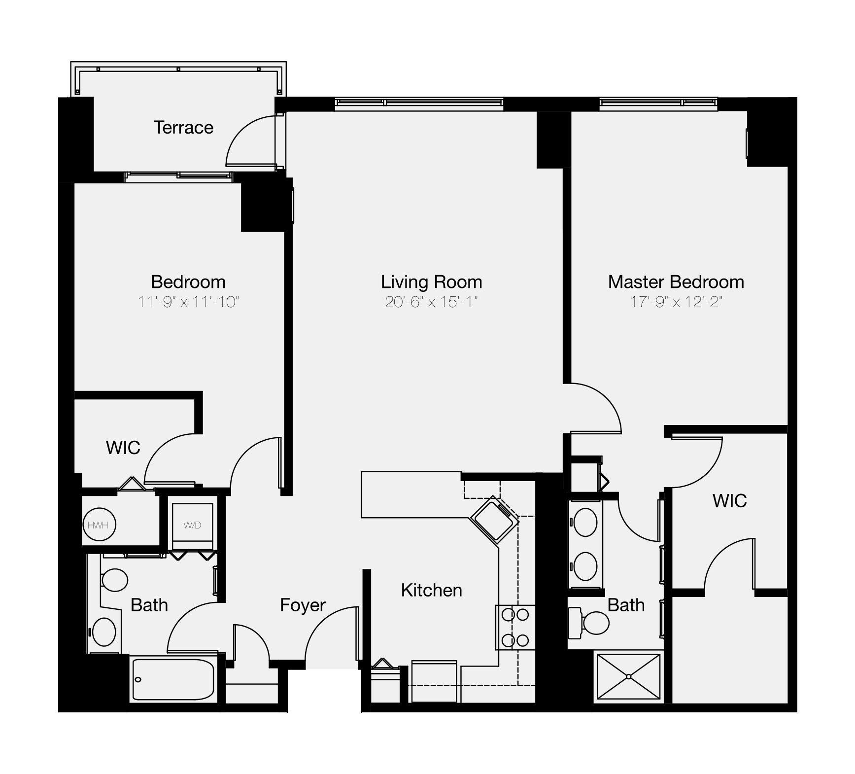2-bedroom floor plan of Philadelphia condo for sale
