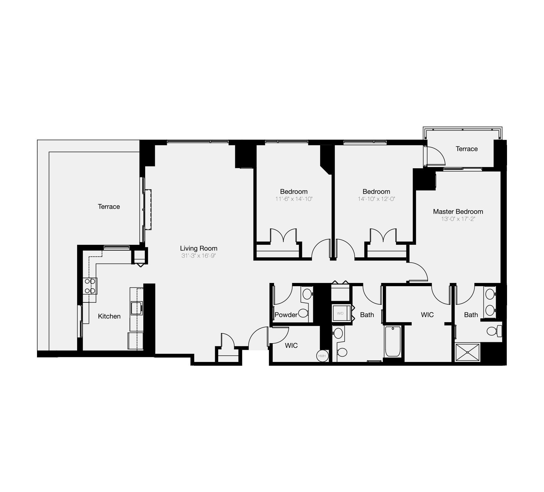Three-bedroom floor plan at luxury condo for sale in Philadelphia
