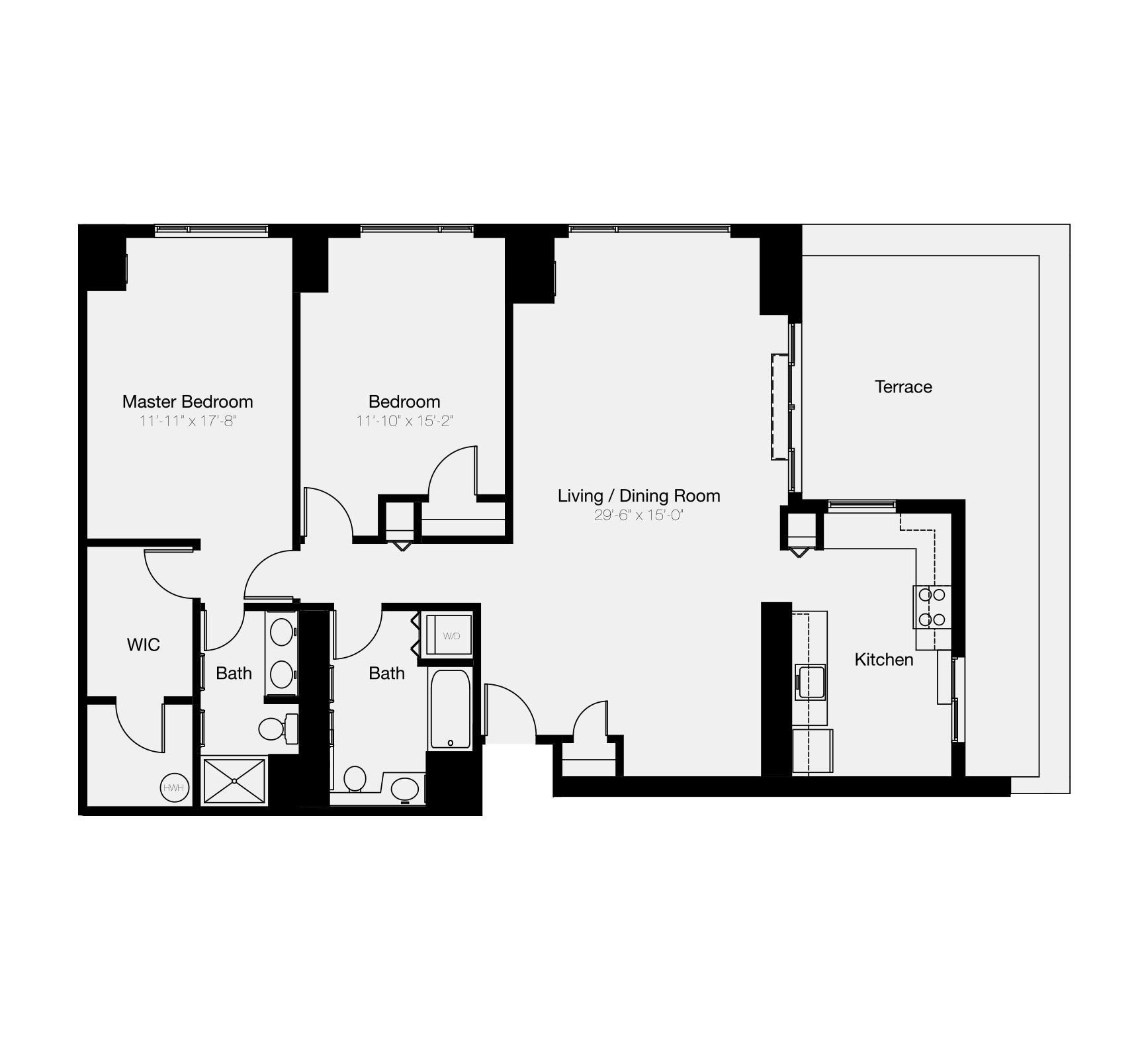 The Residences of Dockside 2-bedroom floor plan