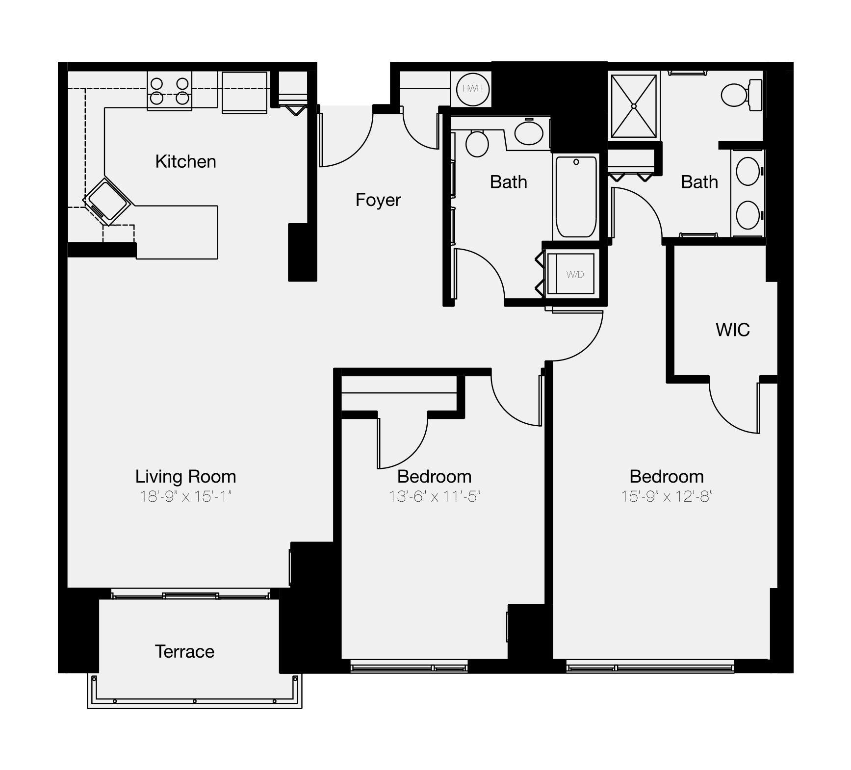 Two-bedroom floor plan of Philadelphia waterfront condo for sale