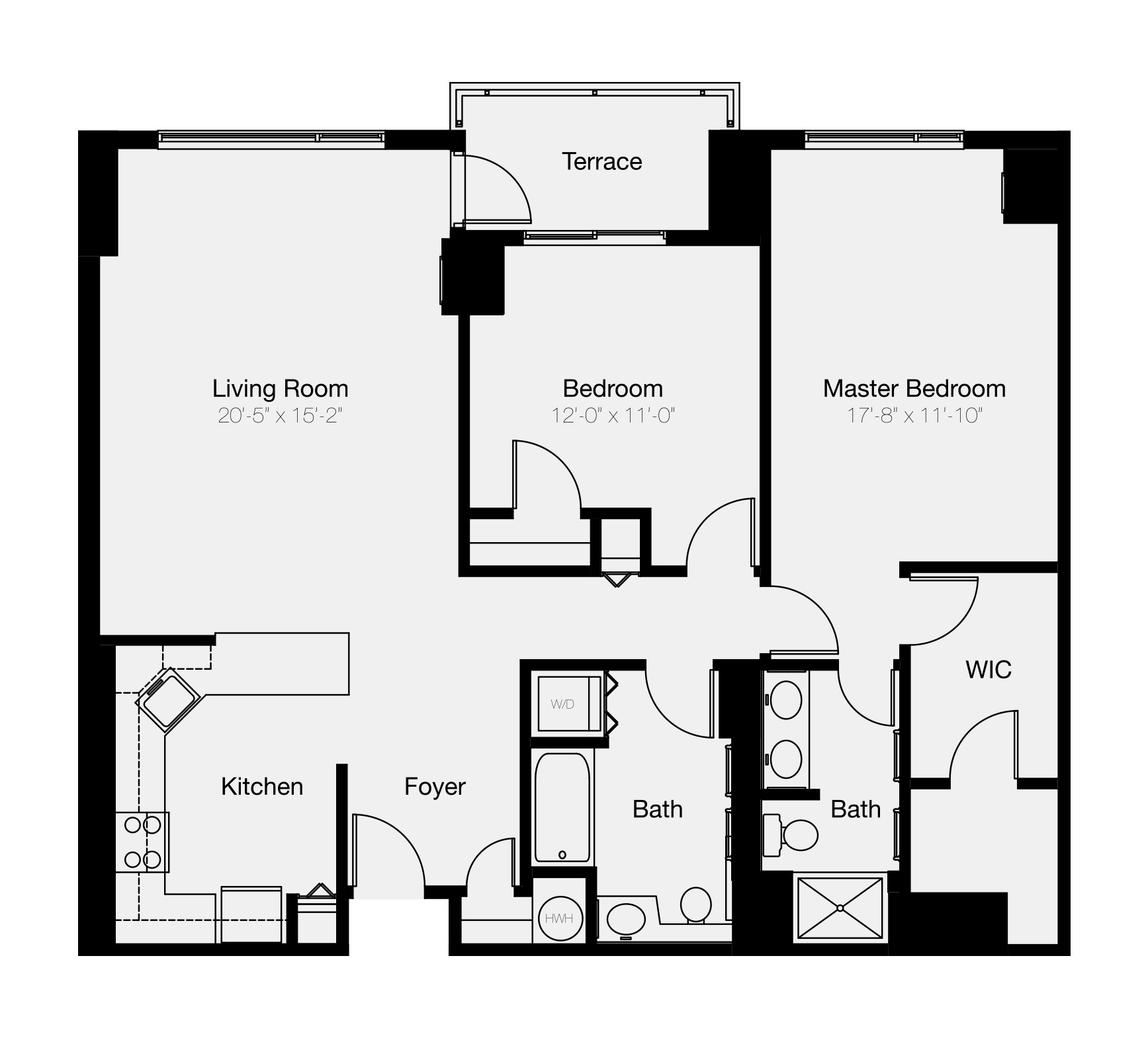 The Residences at Dockside 2-bedroom floor plan of Old City Philadelphia condo