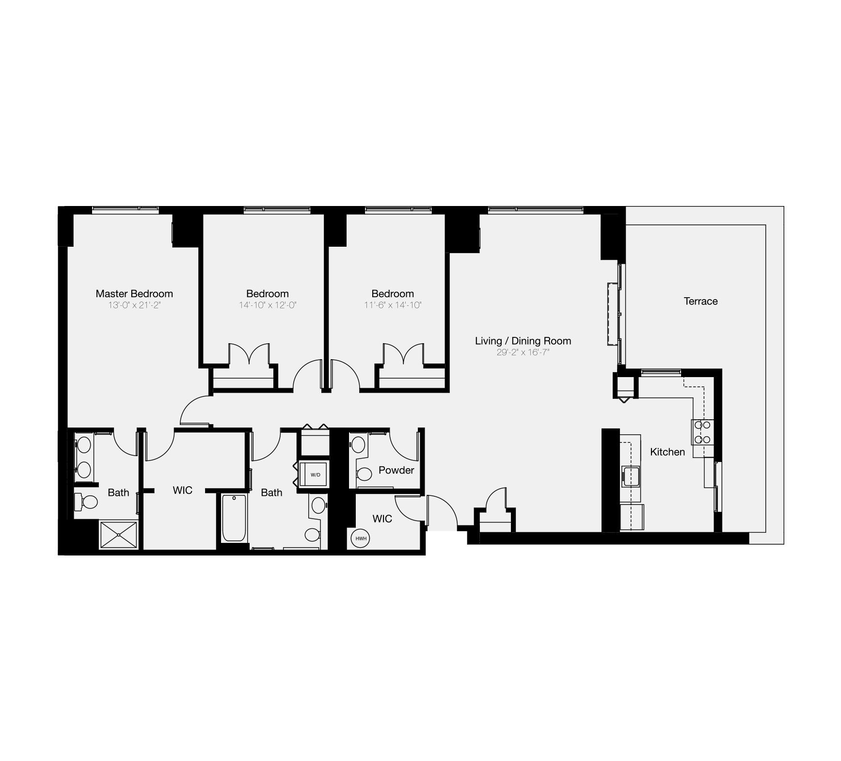 3-bedroom floor plan of Center City Philadelphia condo for sale