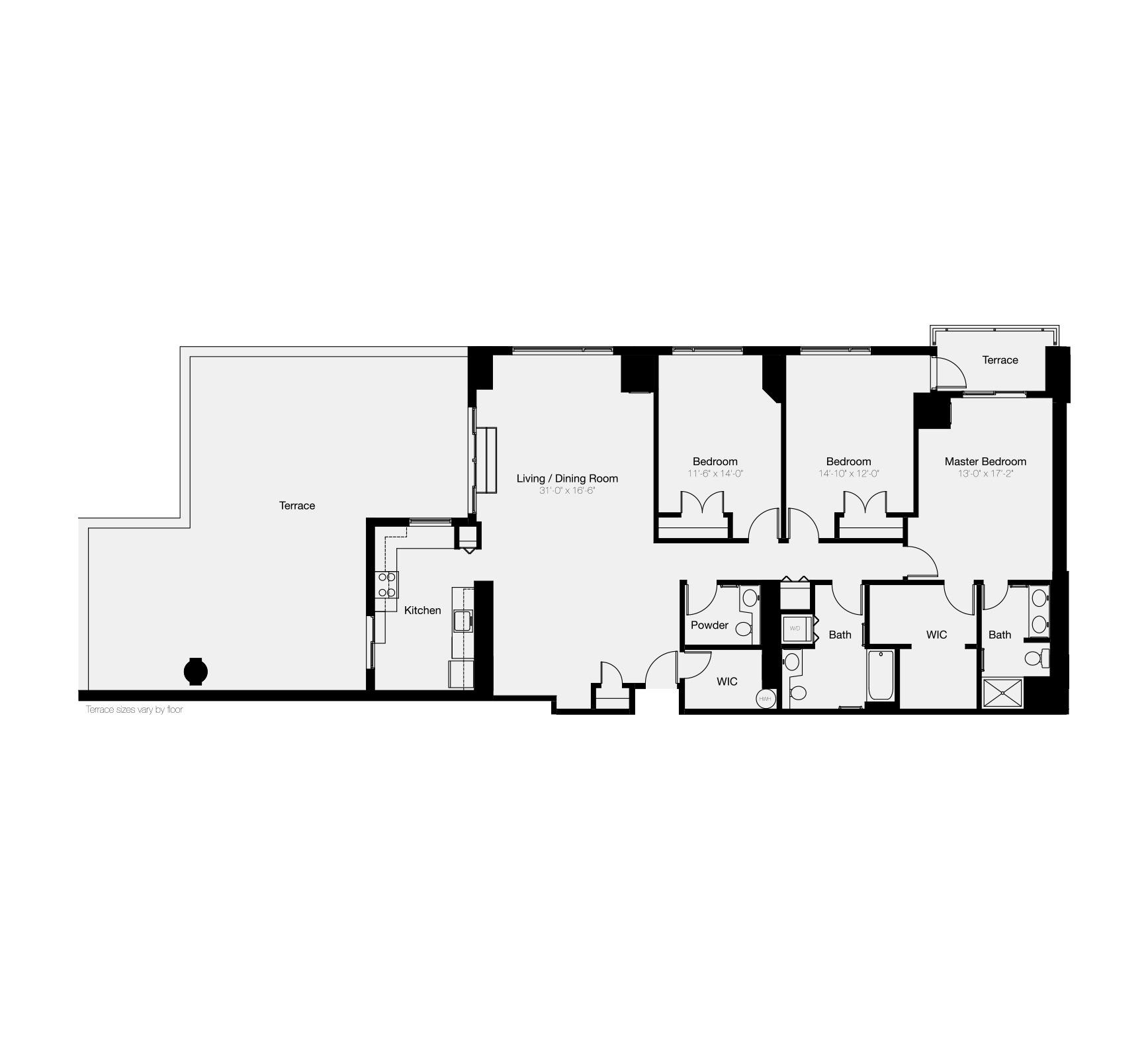 The Residences of Dockside three-bedroom floor plan