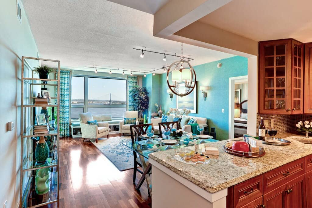 Gorgeous Living Room & Kitchen Interior at The Residences at Dockside