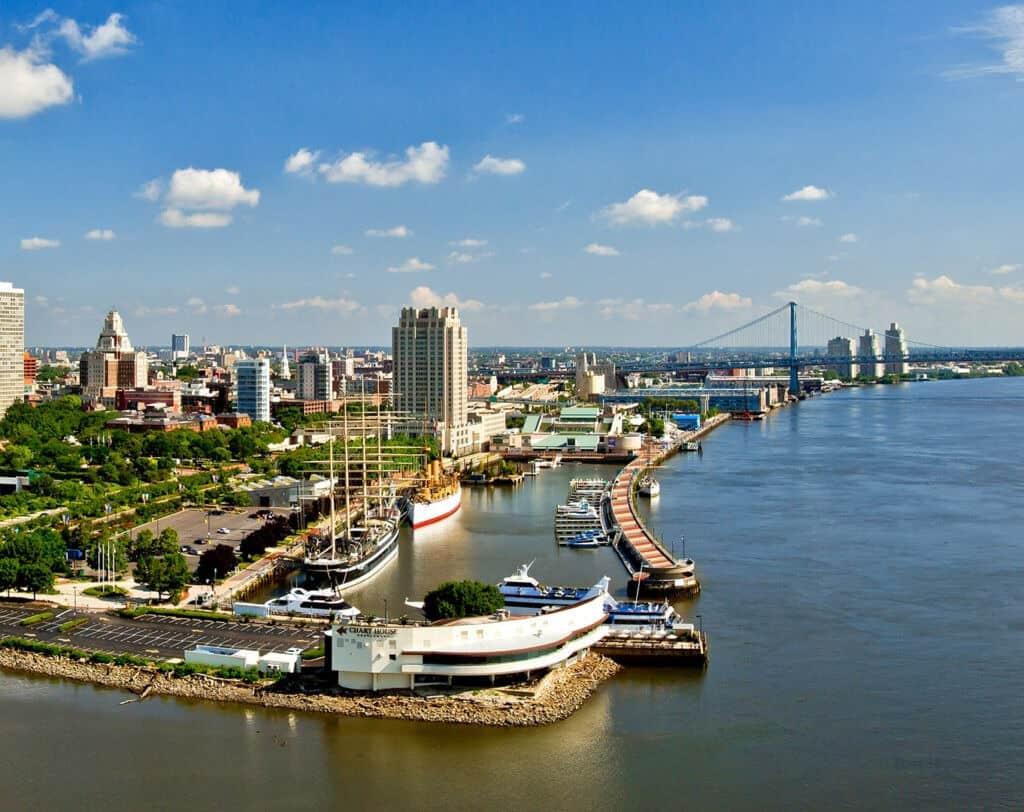 Aerial View of Philadelphia's Waterfront from Dockside Condos
