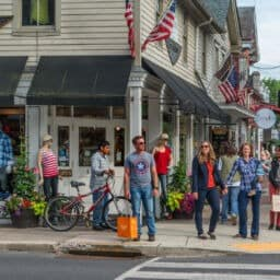 People exploring downtown New Hope, PA