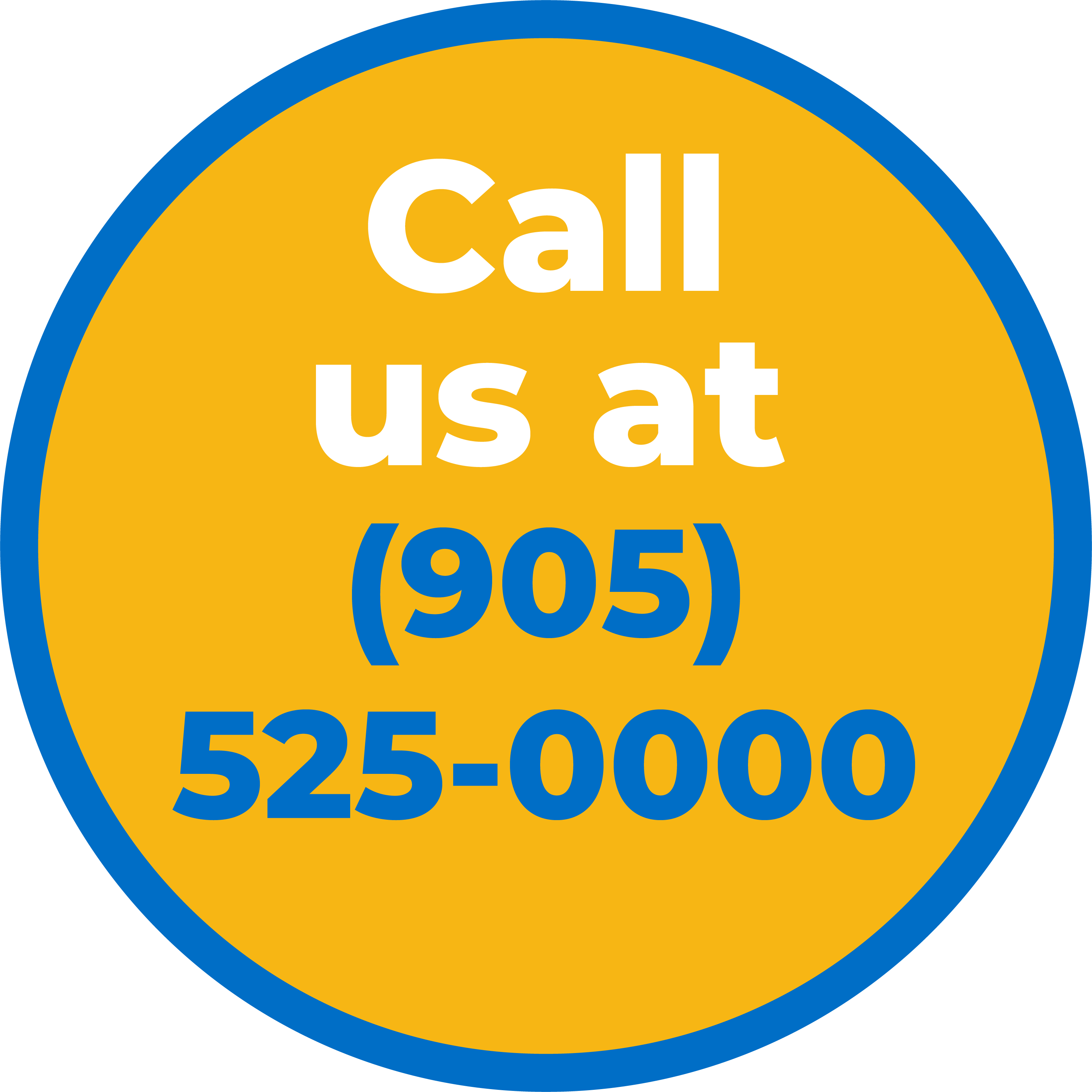 'Call us at 905 525 0000' personal taxi transport
