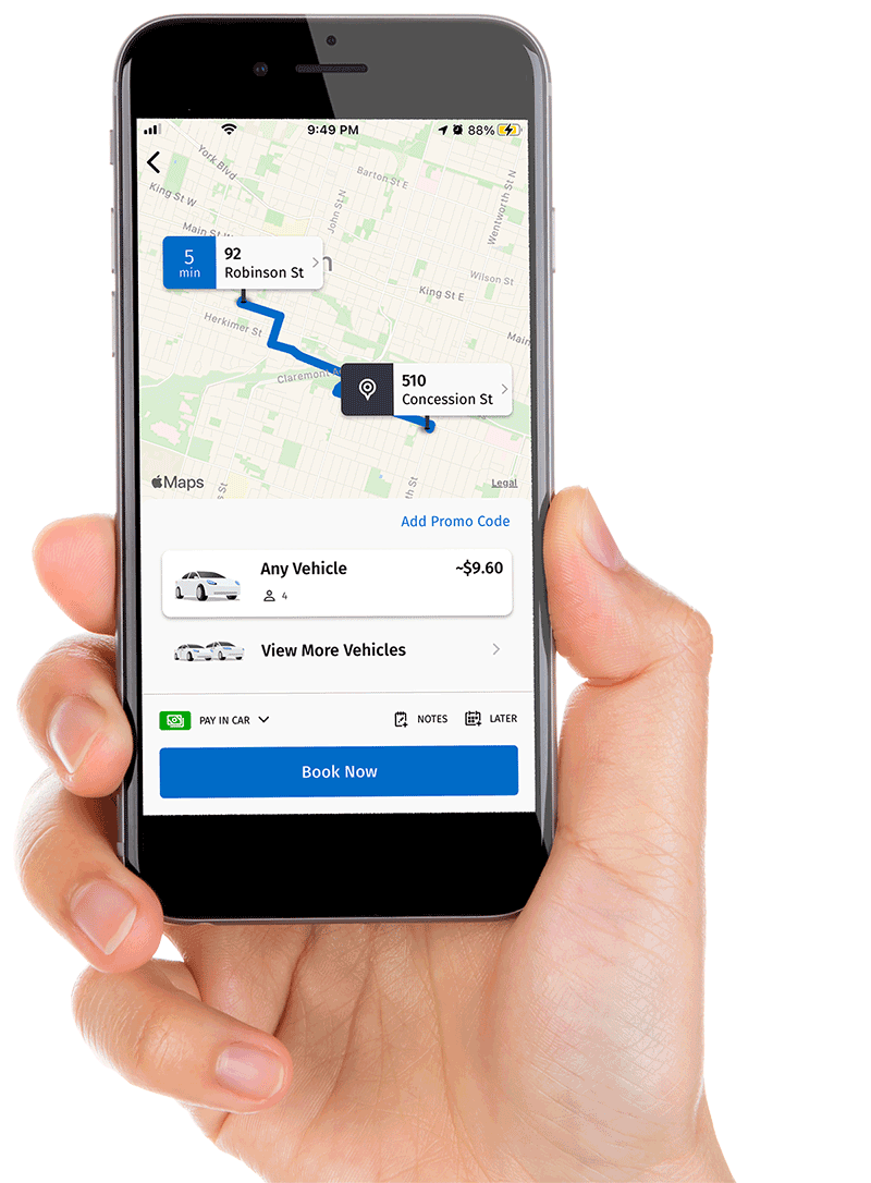 Blue Line Taxi's mobile booking app personal taxi transport