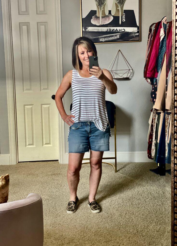 stripe tank with jean shorts