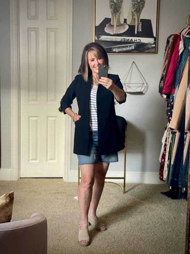 black blazer with jean shorts