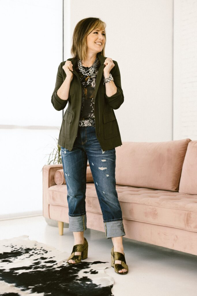 Olive green jacket with jeans