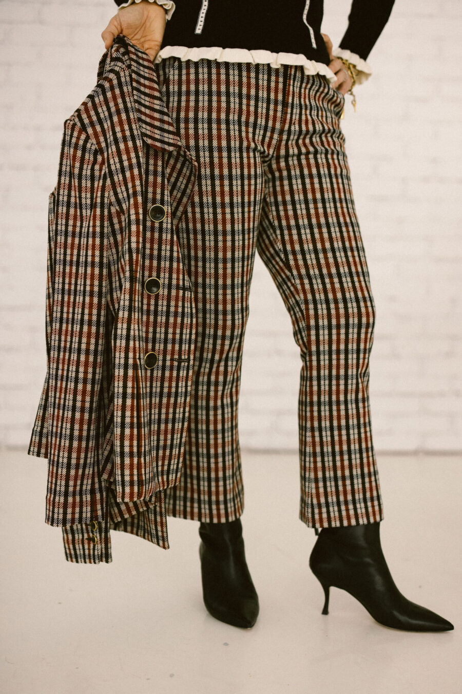 Plaid pants with black boots