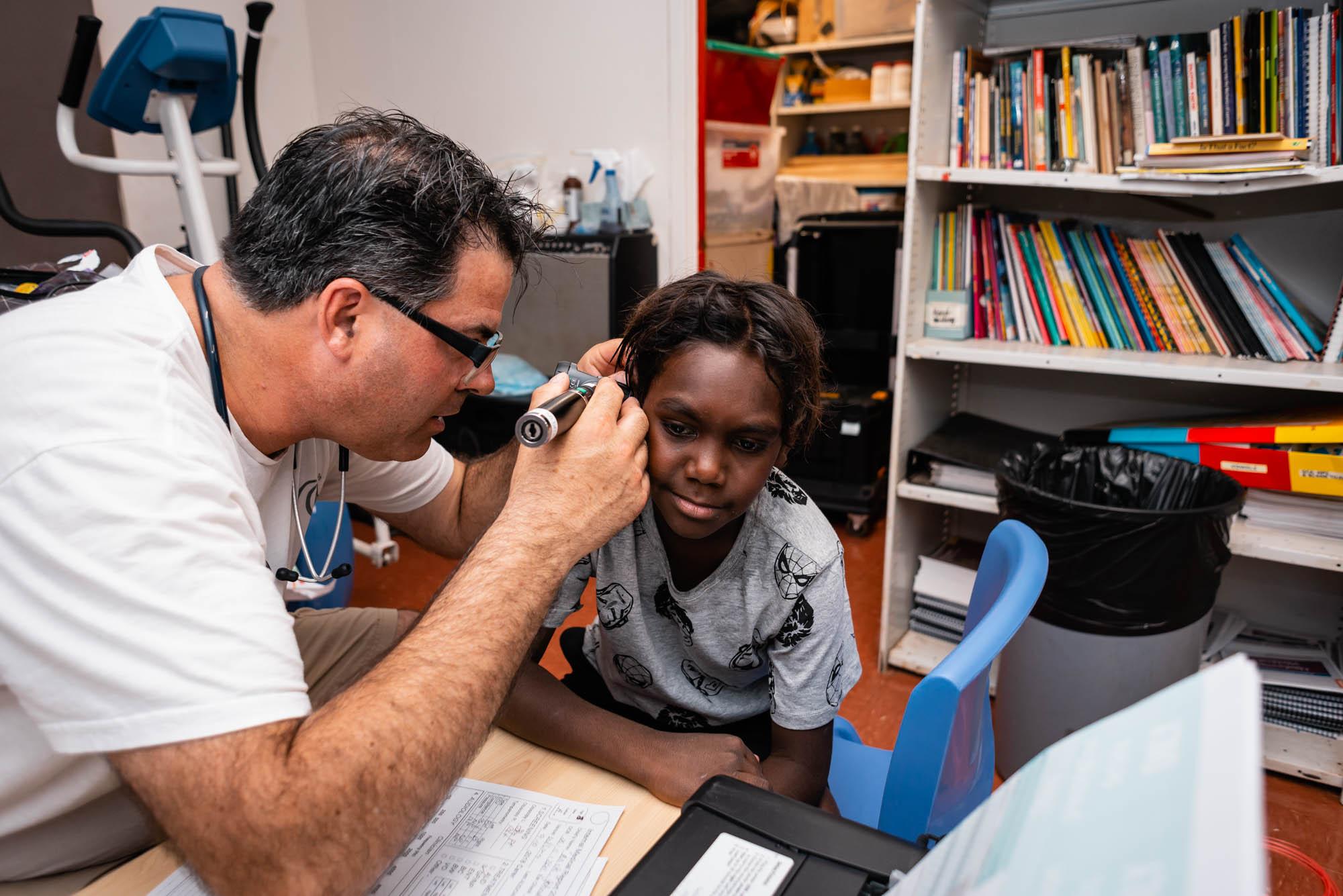 Earbus GP checking ears in the Pilbara region of WA