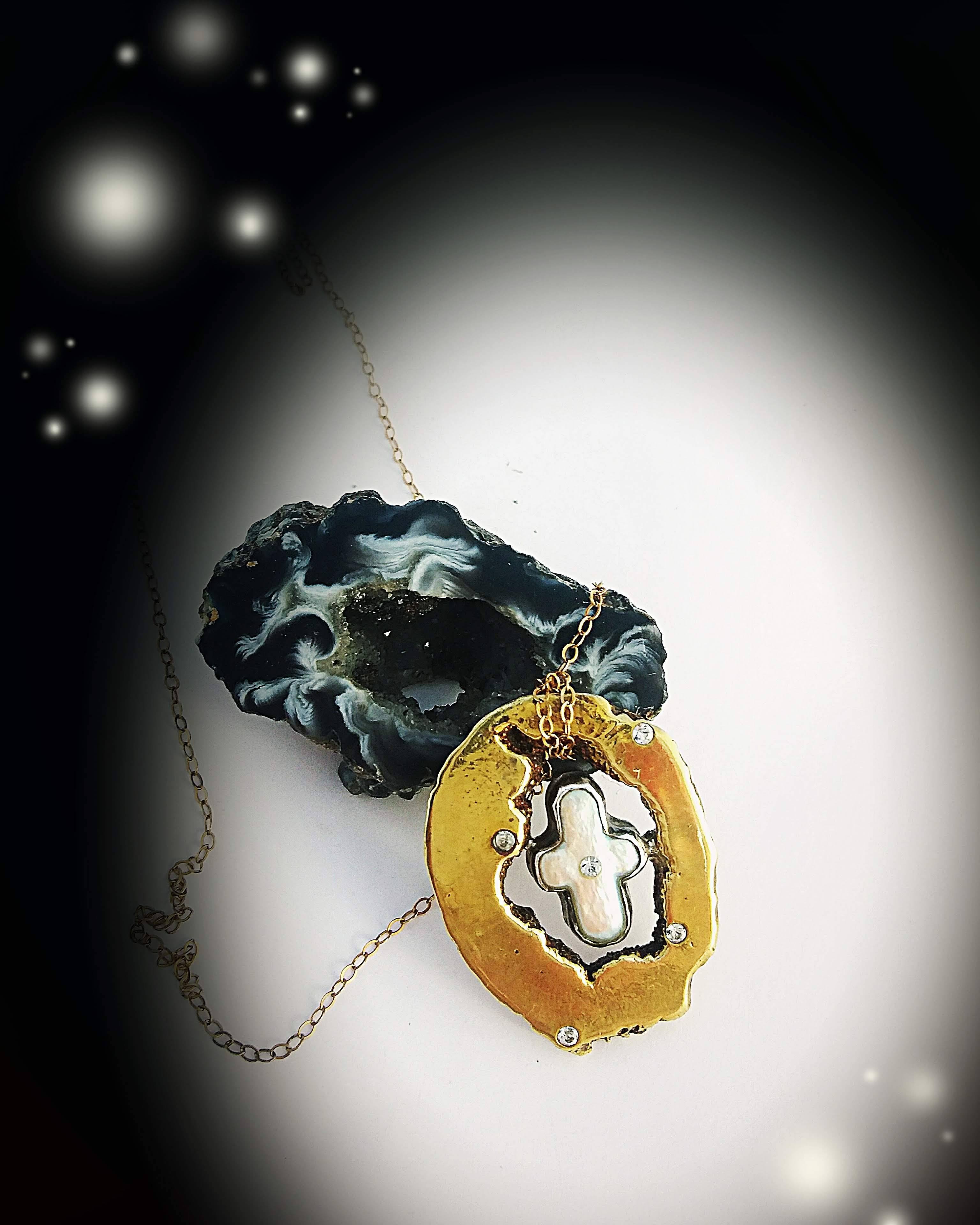 Pearl Cross and Geode Necklace