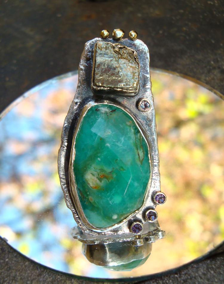 Peruvian Opal Pyrite Ring