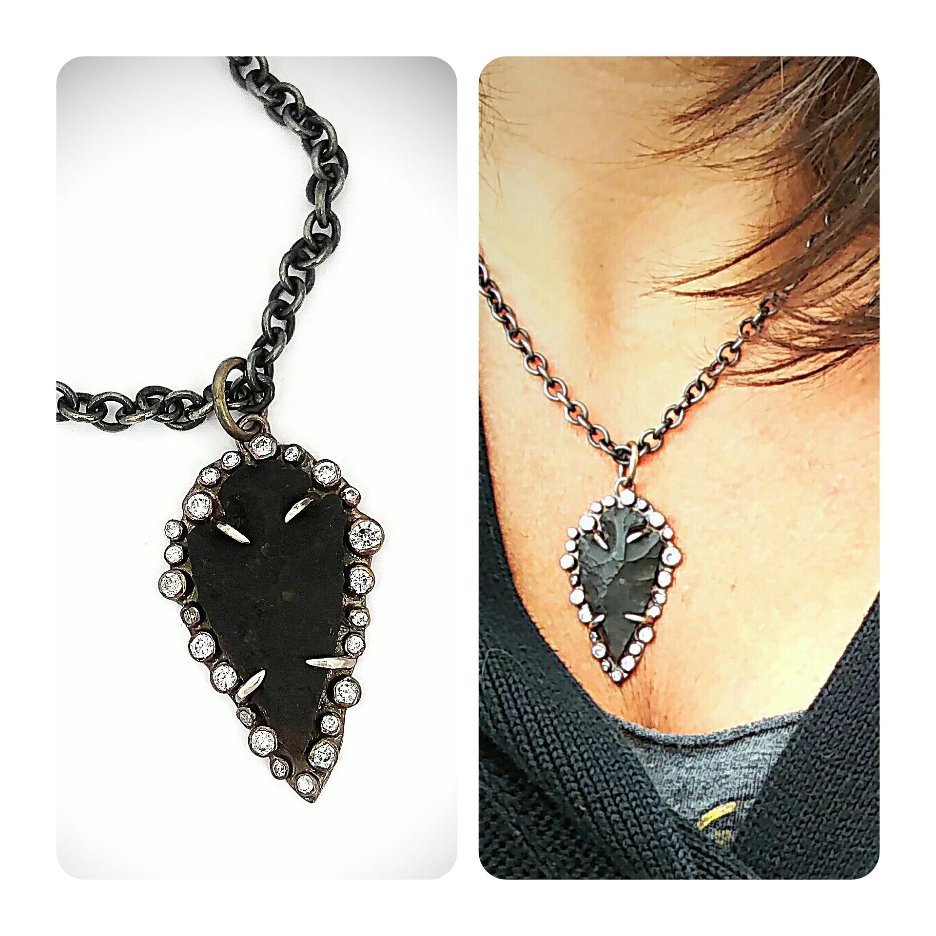 Encrusted Arrowhead Necklace