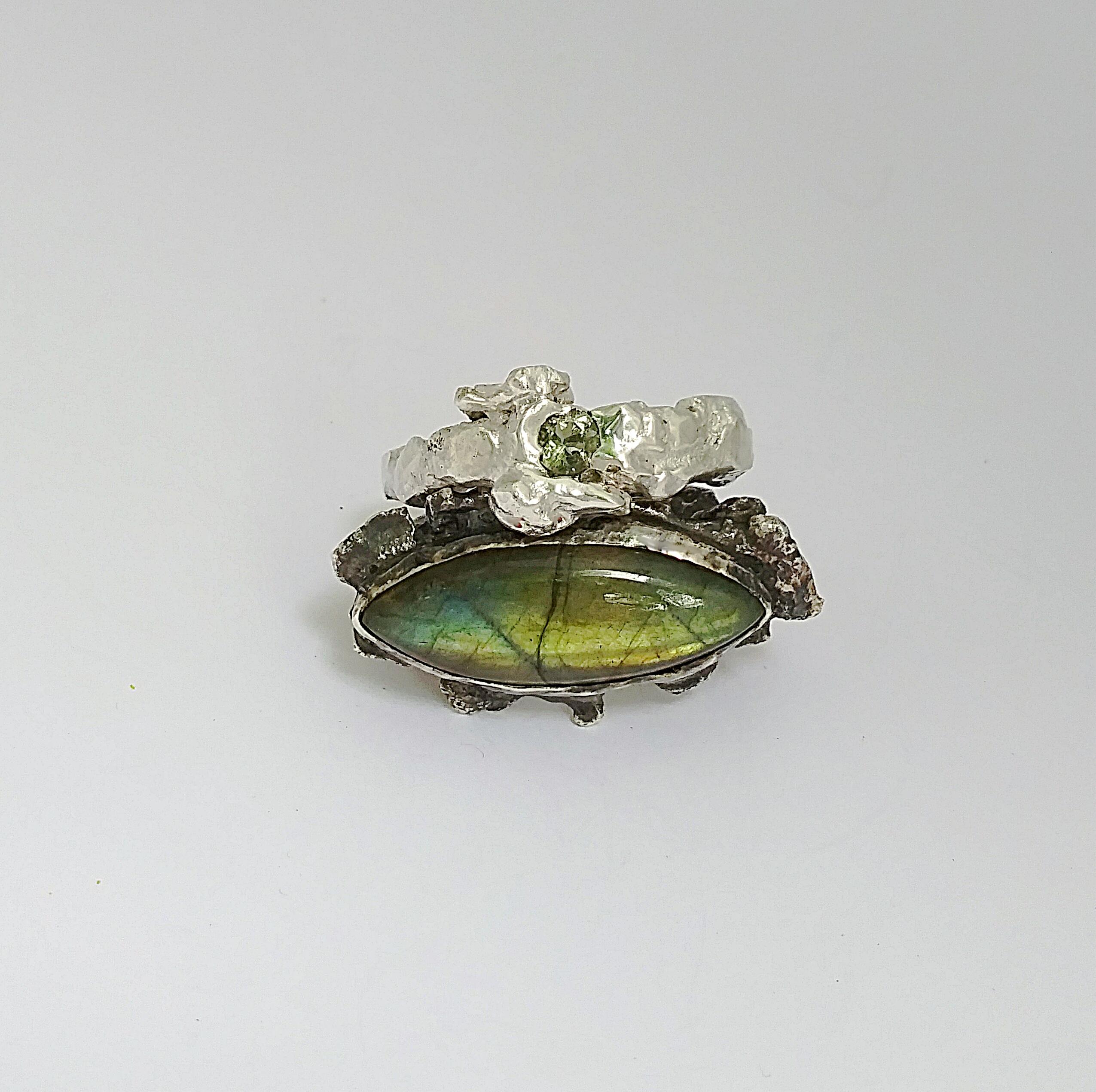 Labradorite & Green Amethyst Ring Set
