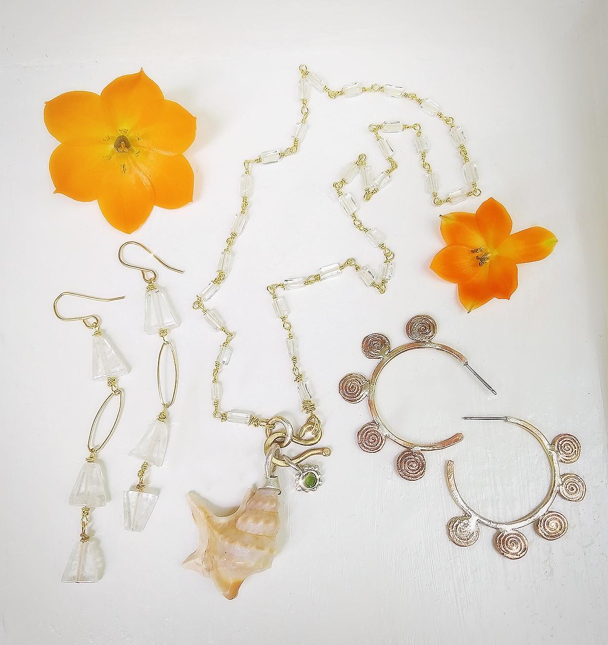 Conch Shell & Aquamarine Necklace