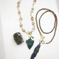 Green Arrowhead & Shell Necklace