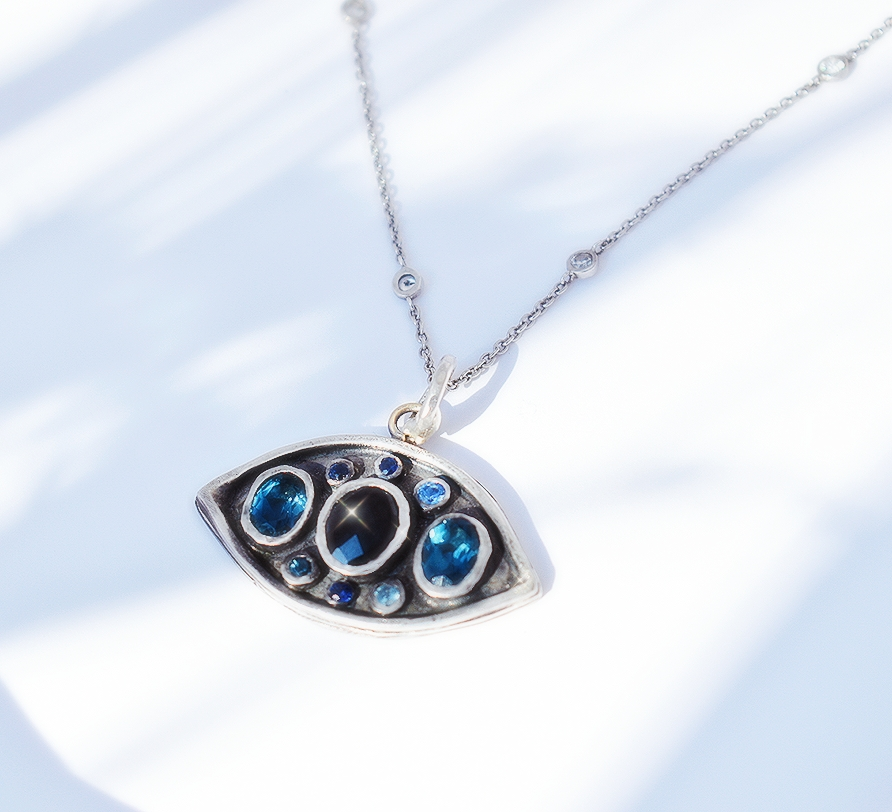 Sapphire and Silver Evil Eye Necklace