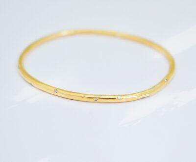 Oval Gold Diamond Bangle