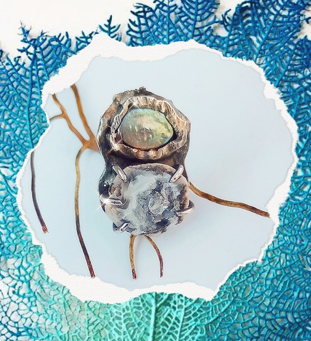 Geode and Coin Pearl Ring