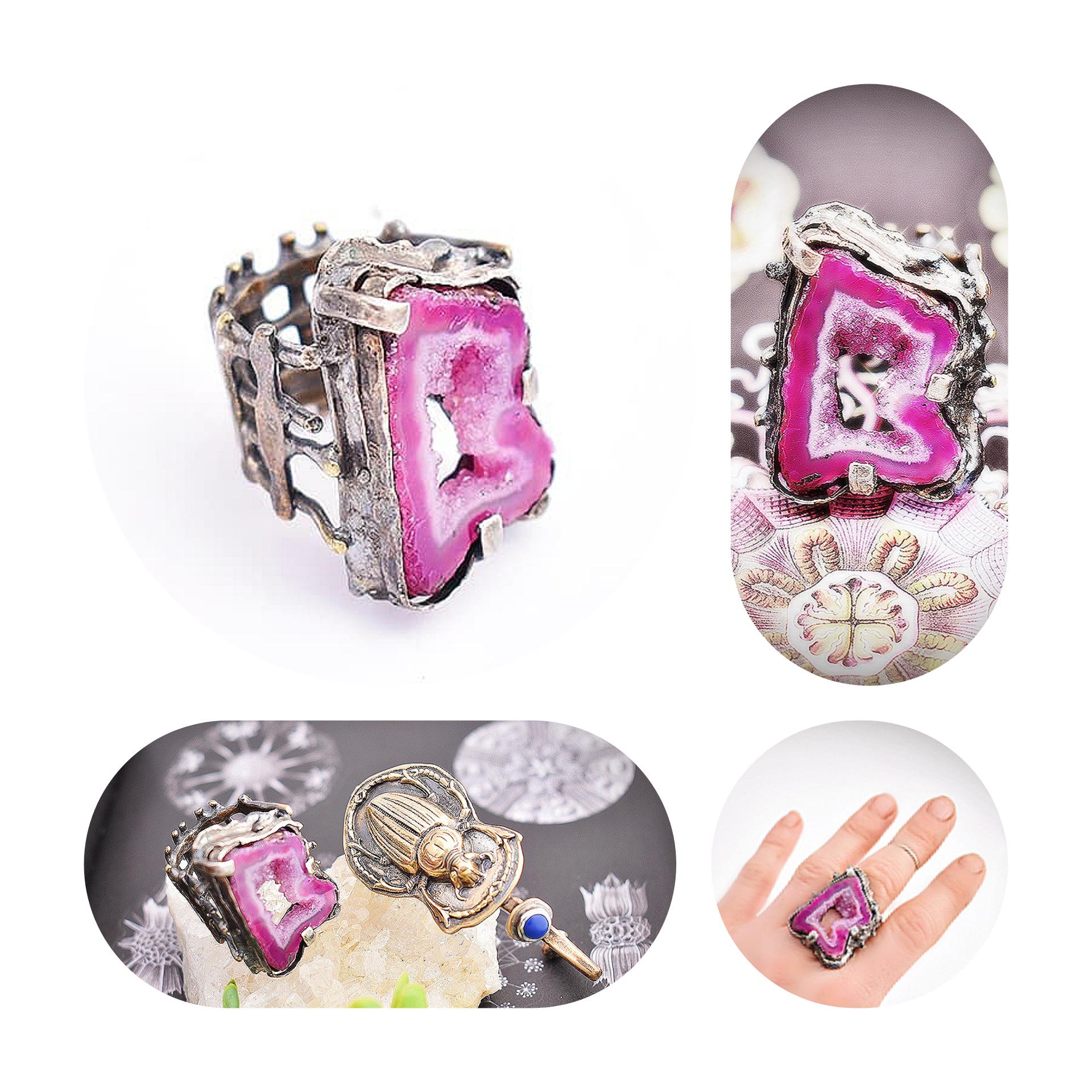 Pink Geode Ring