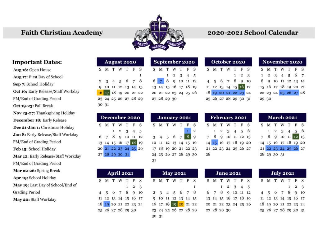FCA 2020-2021 School Calendar