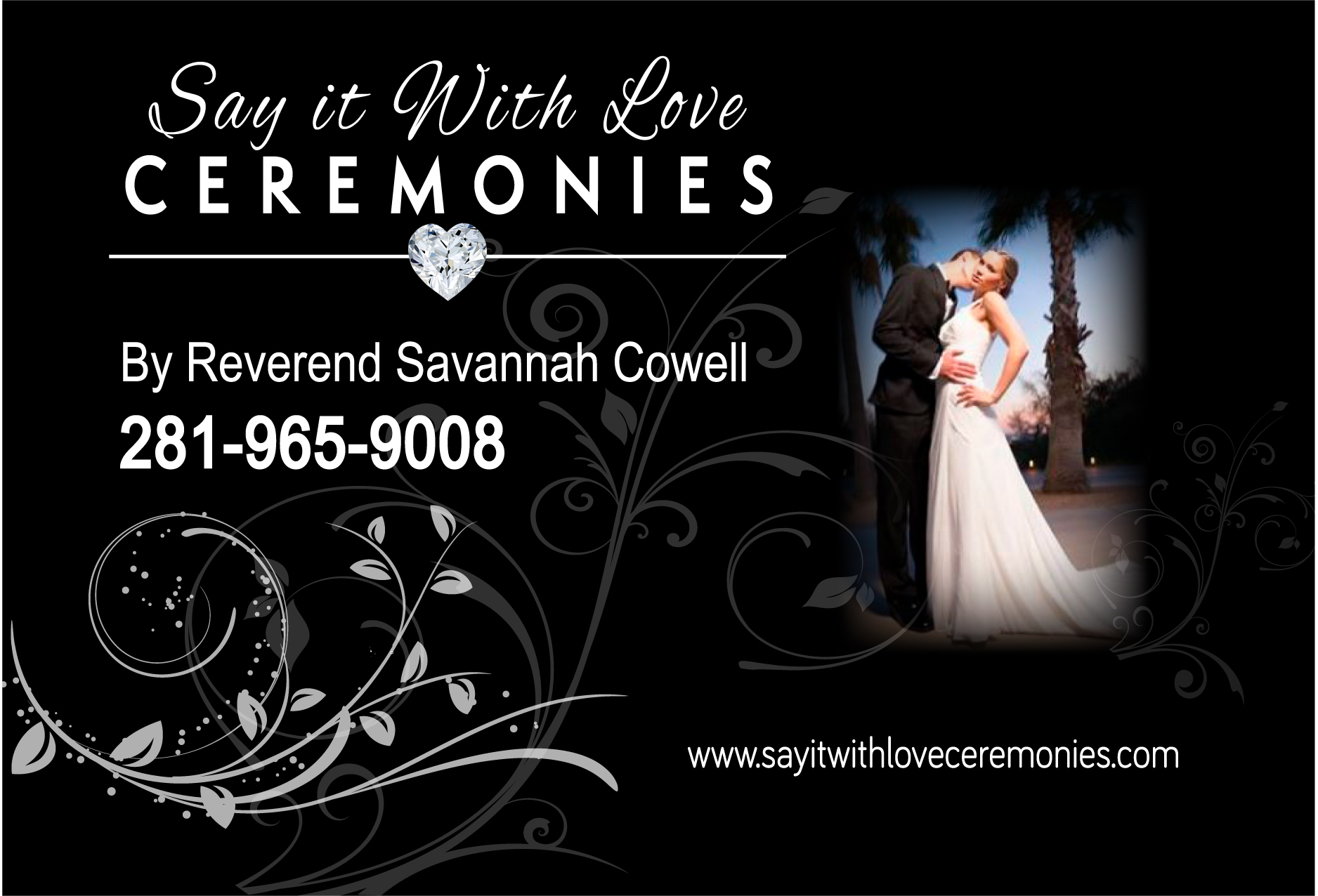 Post card for bridal show with contact information