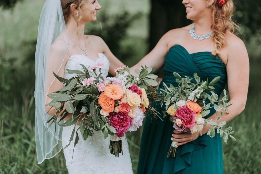 Bride and bridesmaid.