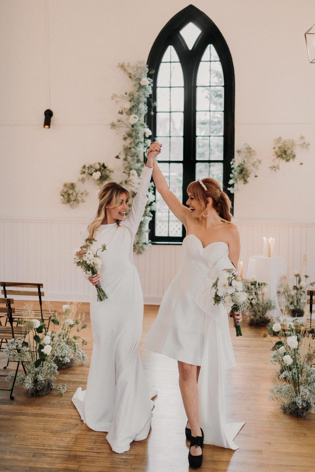Stunning long sleeve Adela by Pronovias along with custom Jolucoeur knee length wedding dress.